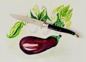 Aubergine et couteau forge de laguiole