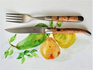 recette de poire au bleu et couteau laguiole